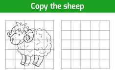 Copy the picture: sheep. Copy the picture, education game: sheep vector illustration