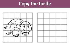 Copy the picture (turtle). Copy the picture, education game for children (turtle royalty free illustration
