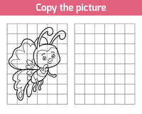 Copy the picture, butterfly. Copy the picture, education game for children, butterfly stock illustration