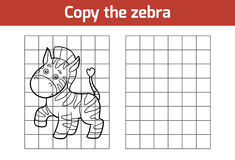 Copy the picture (zebra). Copy the picture, education game for children (zebra vector illustration