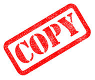 Copy red rubber stamp on white background. Stock Photo