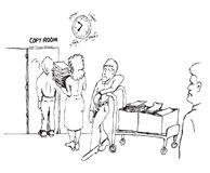 Copy room cartoon Stock Photography