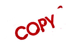 Copy: Rubber Stamp Print Isolated on White Stock Images