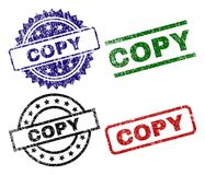 Damaged Textured COPY Seal Stamps. COPY seal stamps with corroded texture. Black, green,red,blue vector rubber prints of COPY text with corroded texture. Rubber royalty free illustration