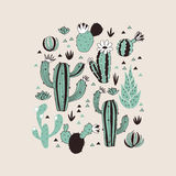 1430 copy 1. Seamless pattern with cactuses and flowers. Vector background Stock Illustration