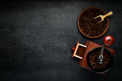Copy Space Area with Coffee Grinder and Brown Beans stock image