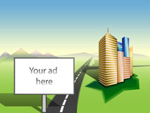 Copy space on Billboard. Cityscape. Road. Mountains skyline. Vec. Large Billboard with white copy space. Cityscape. Grass. Road to mountains skyline stock illustration