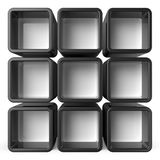Copy space black and white shelf set 3D Stock Image