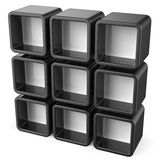 Copy space black and white shelf set 3D Stock Photography
