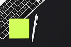 Copy Space Blank Sticky Note Paper with Pen and Keyboard. 3d Ren. Copy Space Blank Sticky Note Paper with Pen and Keyboard on a black background. 3d Rendering Stock Photos