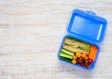 Copy Space of Blue Lunch Box with Food Stock Photography