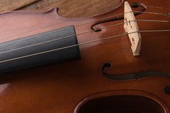 Copy space with close up shot of a violin & x28;violin, cello, sympho Royalty Free Stock Image