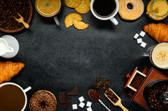 Copy Space Frame and Coffee with Cookies Stock Images