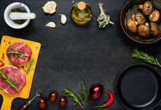 Copy Space Frame with Meat Chops and Cooking Ingredients Stock Images