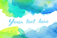 Copy space between green blue watercolor background Royalty Free Stock Image
