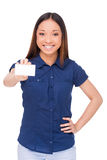 Copy space on her business card. Royalty Free Stock Photography