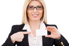 Copy space on her business card. Stock Photos