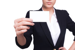 Copy space on her business card. Royalty Free Stock Images