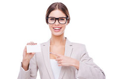 Copy space on her card. Royalty Free Stock Images