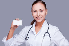 Copy space on her card. Stock Images
