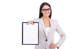 Copy space on her clipboard. Stock Image