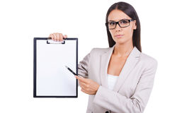 Copy space on her clipboard. Stock Photos