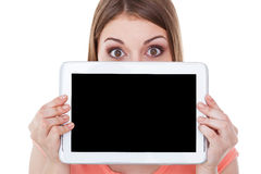 Copy space on her digital tablet. Stock Photography