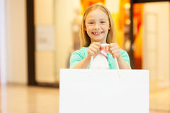 Copy space on her shopping bag. Stock Photo