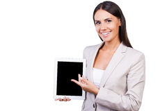 Copy space on her tablet. Stock Photos