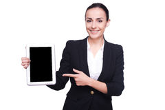 Copy space on her tablet. Stock Photo