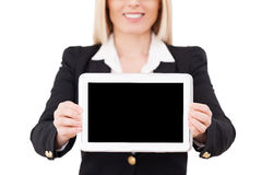 Copy space on her tablet. Stock Photography