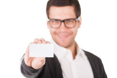 Copy space on his business card. Stock Images