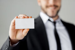 Copy space on his business card. Royalty Free Stock Image