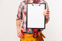 Copy space on his clipboard. Royalty Free Stock Photography