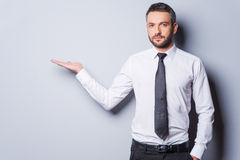 Copy space at his hand. Royalty Free Stock Photos