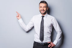 Copy space at his hand. Royalty Free Stock Image