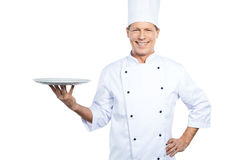 Copy space at his plate. Royalty Free Stock Image