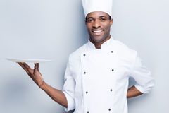 Copy space at his plate. Royalty Free Stock Photos