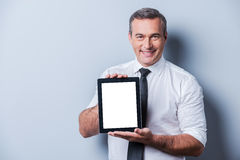 Copy space on his tablet. Stock Images