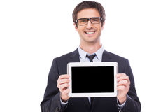 Copy space on his tablet. Stock Photography