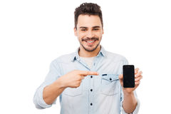 Copy space on his telephone. Stock Images