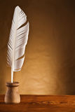 Copy space image of goose feather in inkstand royalty free stock image