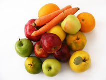 Copy space for logo and graphics green apple, carrot, quince, pomegranate red apple pictures Stock Images