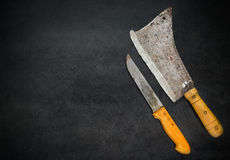 Copy Space with Meat Cleaver and Knife Stock Photo