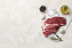 Free space with fresh meat, spices, garlic, olive oil and herbs on white background stock photos