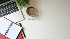 Free Copy Space Office Desk With Laptop, Notebook And Pen With Coffee. Top View Table. Stock Photo - 157982040