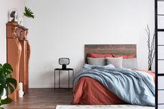 Free Copy Space On Empty White Wall Of Rustic Bedroom Interior With King Size Bed With Orange And Pastel Blue Bedding Stock Photo - 156985830