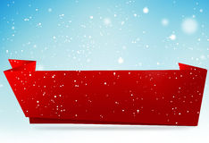 Copy space red baner winter snowflakes sky backgroud 3d render Royalty Free Stock Image