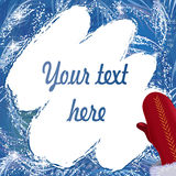 Copy space in shape of cleaned frozen window with red mitten Stock Photo