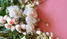 Greeting Card  Copy Space Beautiful Flowers  bouquet of white roses and wild flowers on a pink background  copy spaces. Copy Space  Spring  Beautiful Flowers stock image